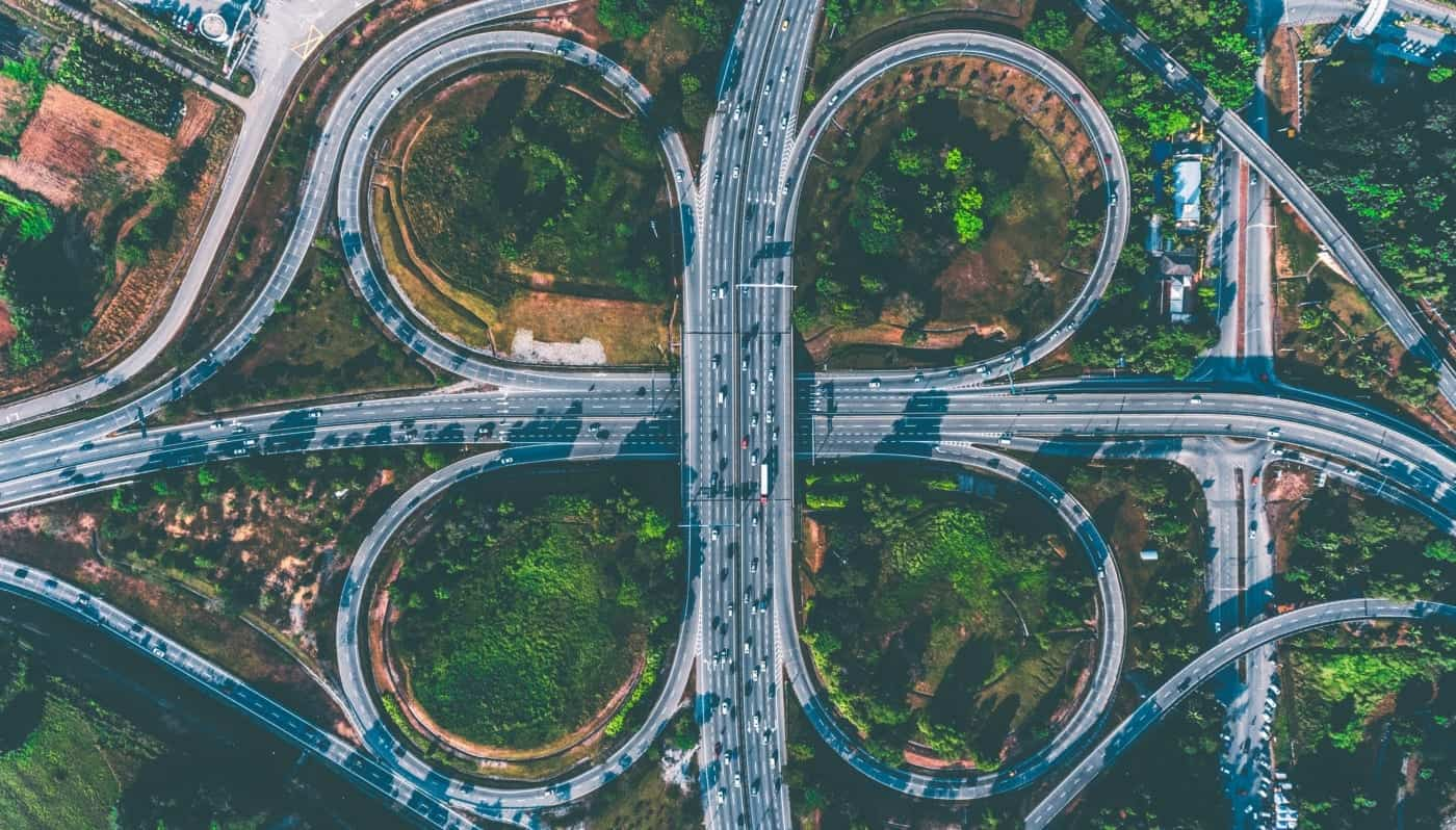 Aerial view of busy, looping intersection representing the complexity of change management in business